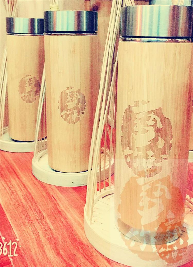 保温杯 好用竹制杯男女士泡茶 外部天然竹子雕刻 内部